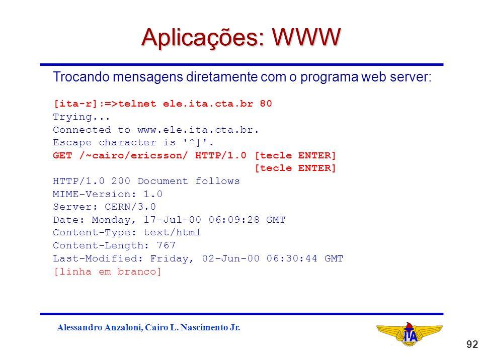 Aplicações: WWW Trocando mensagens diretamente com o programa web server: [ita-r]:=>telnet ele.ita.cta.br 80.